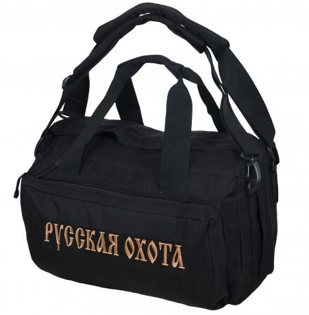 Дорожная черная сумка-рюкзак с нашивкой Русская Охота - купить онлайн