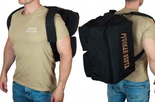 Дорожная черная сумка-рюкзак с нашивкой Русская Охота - заказать в подарок