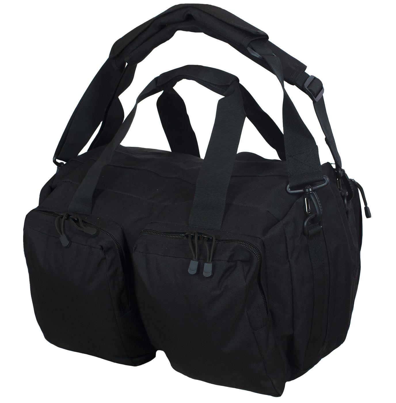 Дорожная черная сумка-рюкзак с нашивкой Русская Охота - купить с доставкой