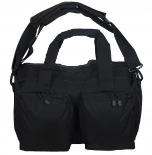 Дорожная черная сумка-рюкзак с нашивкой Русская Охота - купить оптом