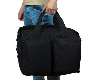 Дорожная черная сумка-рюкзак с нашивкой Русская Охота - заказать оптом