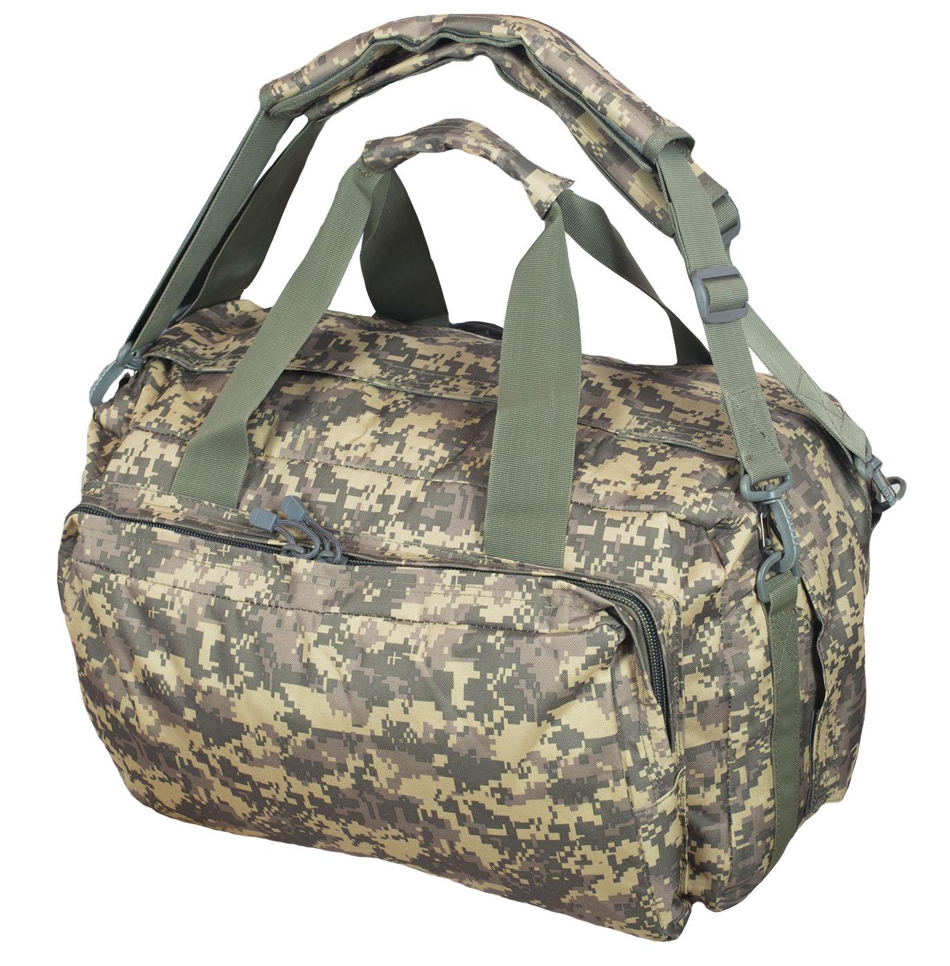 Дорожная камуфляжная сумка-рюкзак с эмблемой Охотничьих войск купить с доставкой