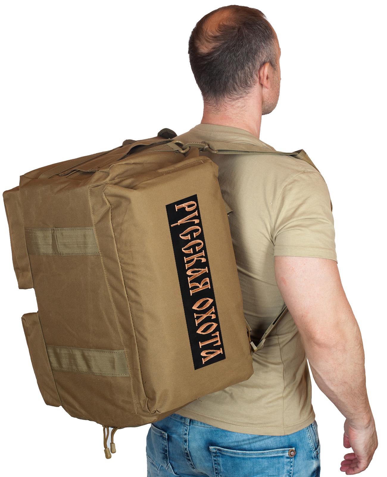 Купить дорожную мужскую сумку-рюкзак с нашивкой Русская Охота онлайн выгодно
