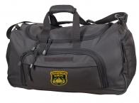 Дорожная темно-серая сумка с нашивкой Танковые Войска 08032B