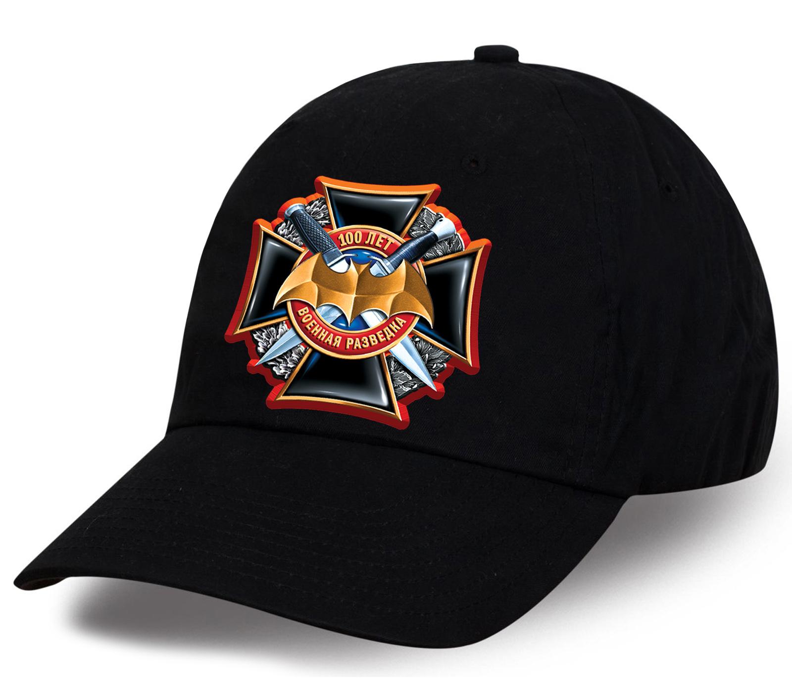 Достойная мужская кепка с принтом юбилейного креста разработанного дизайнерами Военпро к 100 летию Военной разведки. Идеальный эксклюзивный презент!