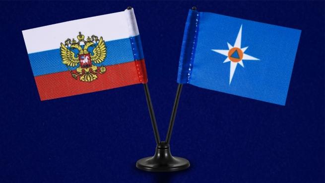 Двойной мини флажок России и МЧС
