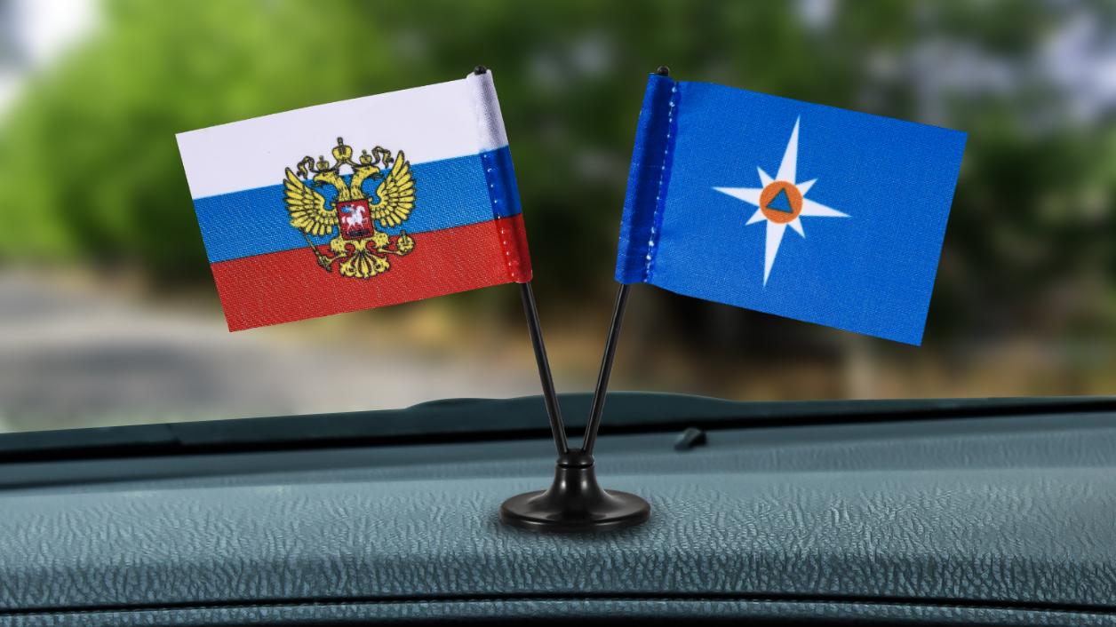 Заказать двойной мини флажок России и МЧС