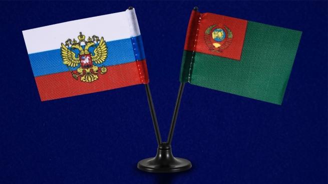 Двойной мини флажок России и Погранвойск СССР