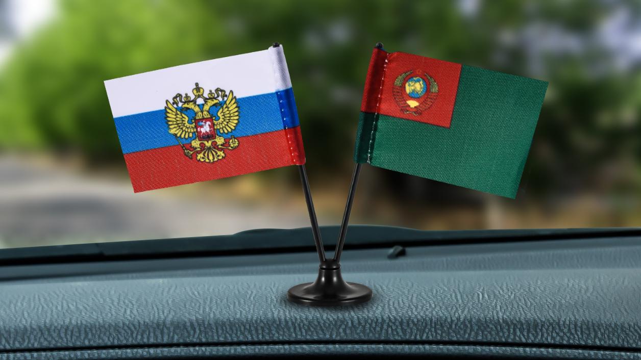 Заказать двойной мини флажок России и Погранвойск СССР