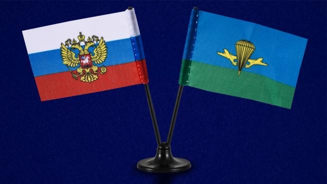 Двойной мини флажок России и ВДВ России
