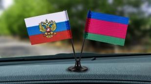 Заказать двойной миниатюрный флажок России и Кубанского казачьего войска