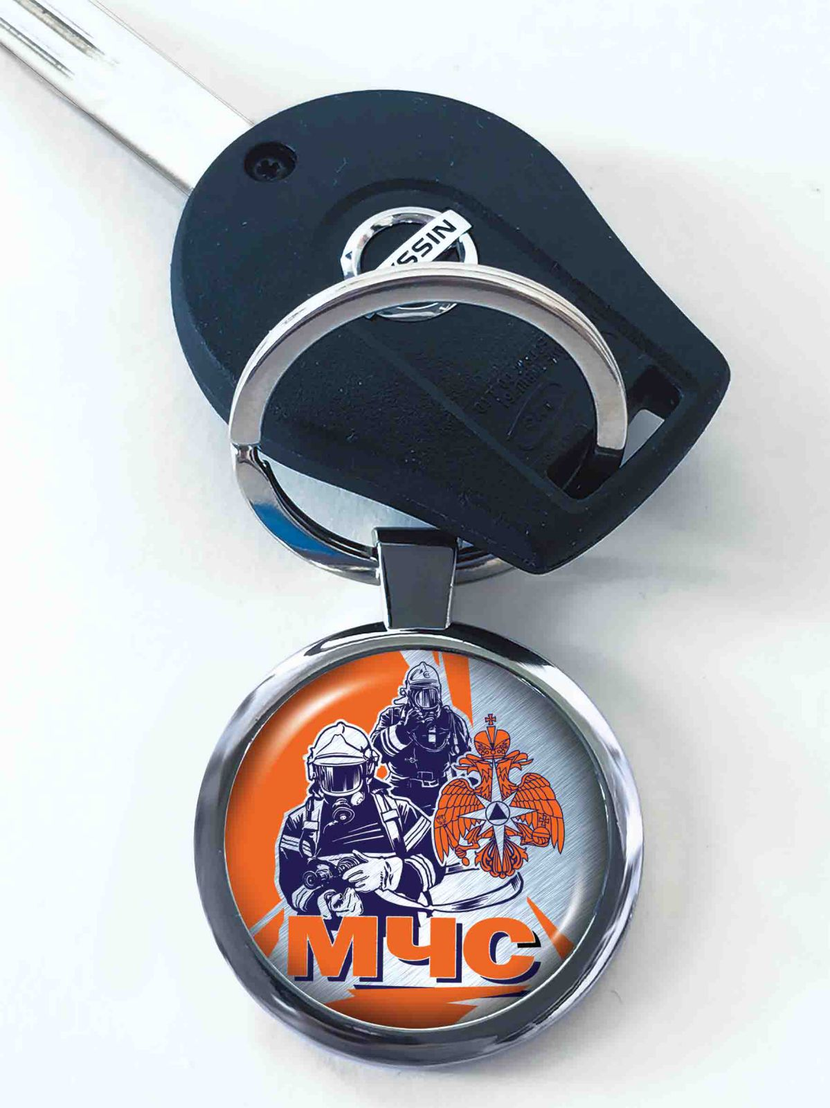 Двухсторонний брелок МЧС для авто ключей