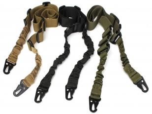 Двухточечный ремень на оружие с карабином и амортизатором (хаки-олива)