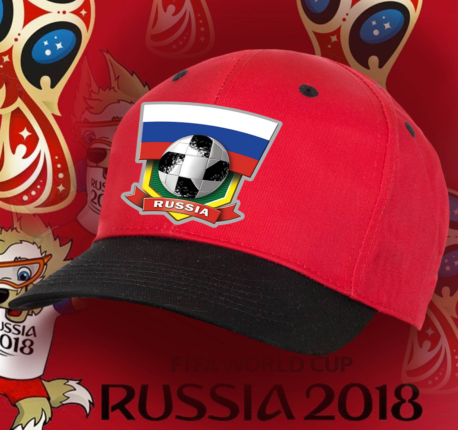 Двухцветная фанатская бейсболка Russia