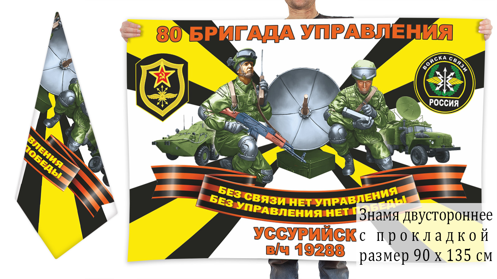 Двусторонний флаг 80 бригада управления войск связи