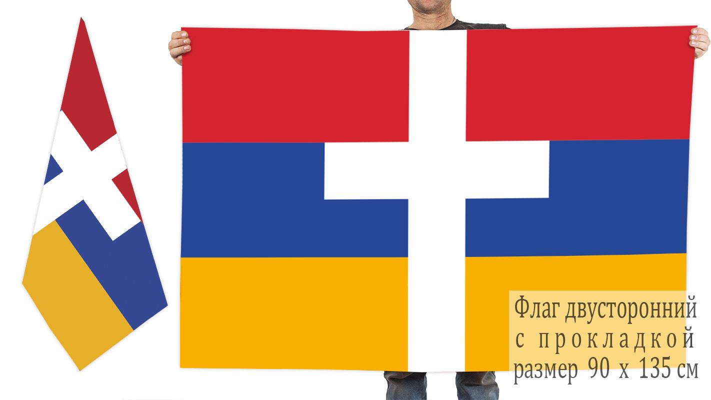 Двусторонний флаг Армении с крестом