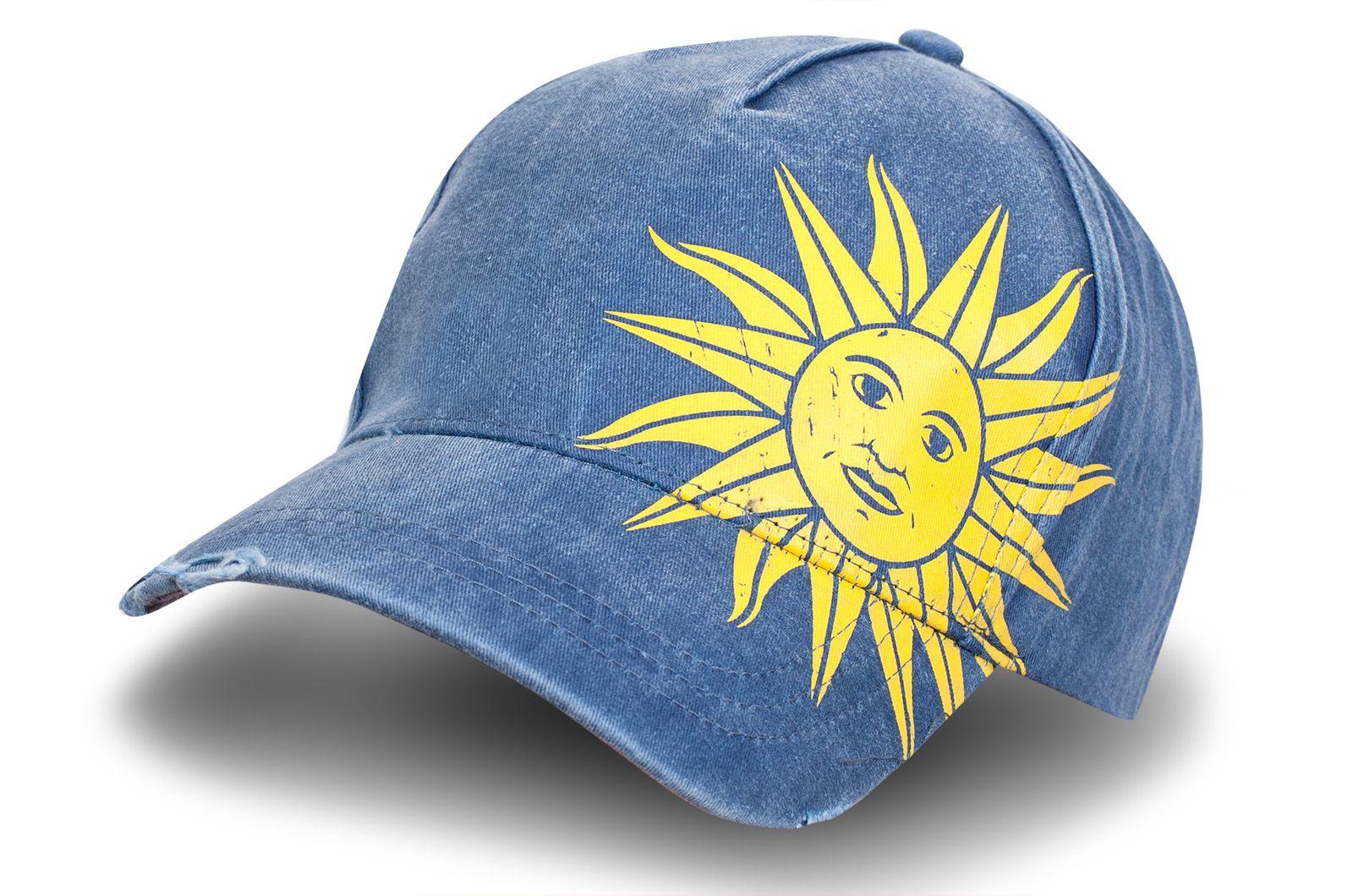 """Джинсовая бейсболка """"Солнце"""" - купить по специальной цене"""