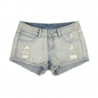 Светло-голубые женские джинсовые шорты.