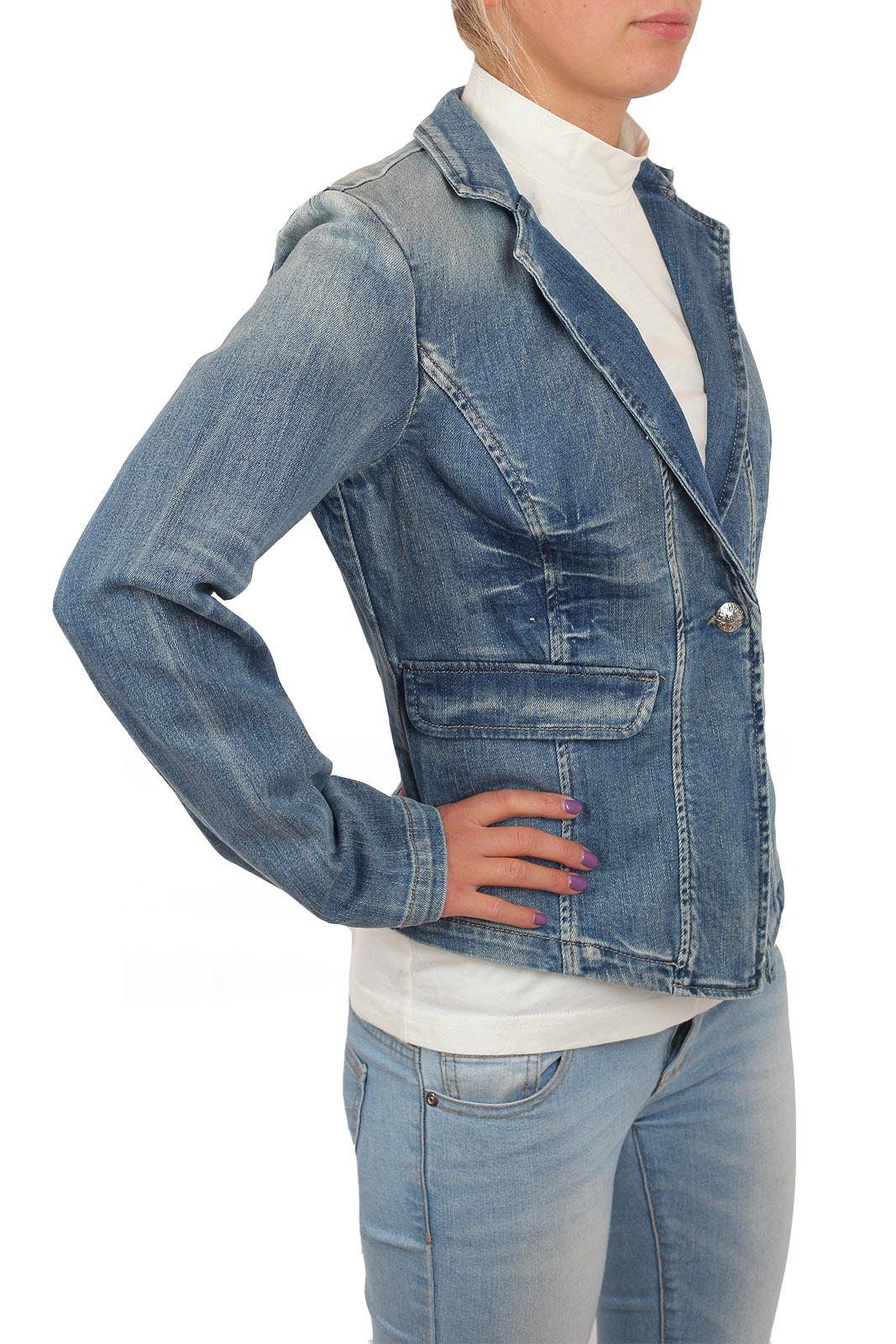 Джинсовый женский пиджак B.G. Приталенная модель из коллекции Haute couture. Двубортная модель подойдет и к строгому платью, и к брюкам