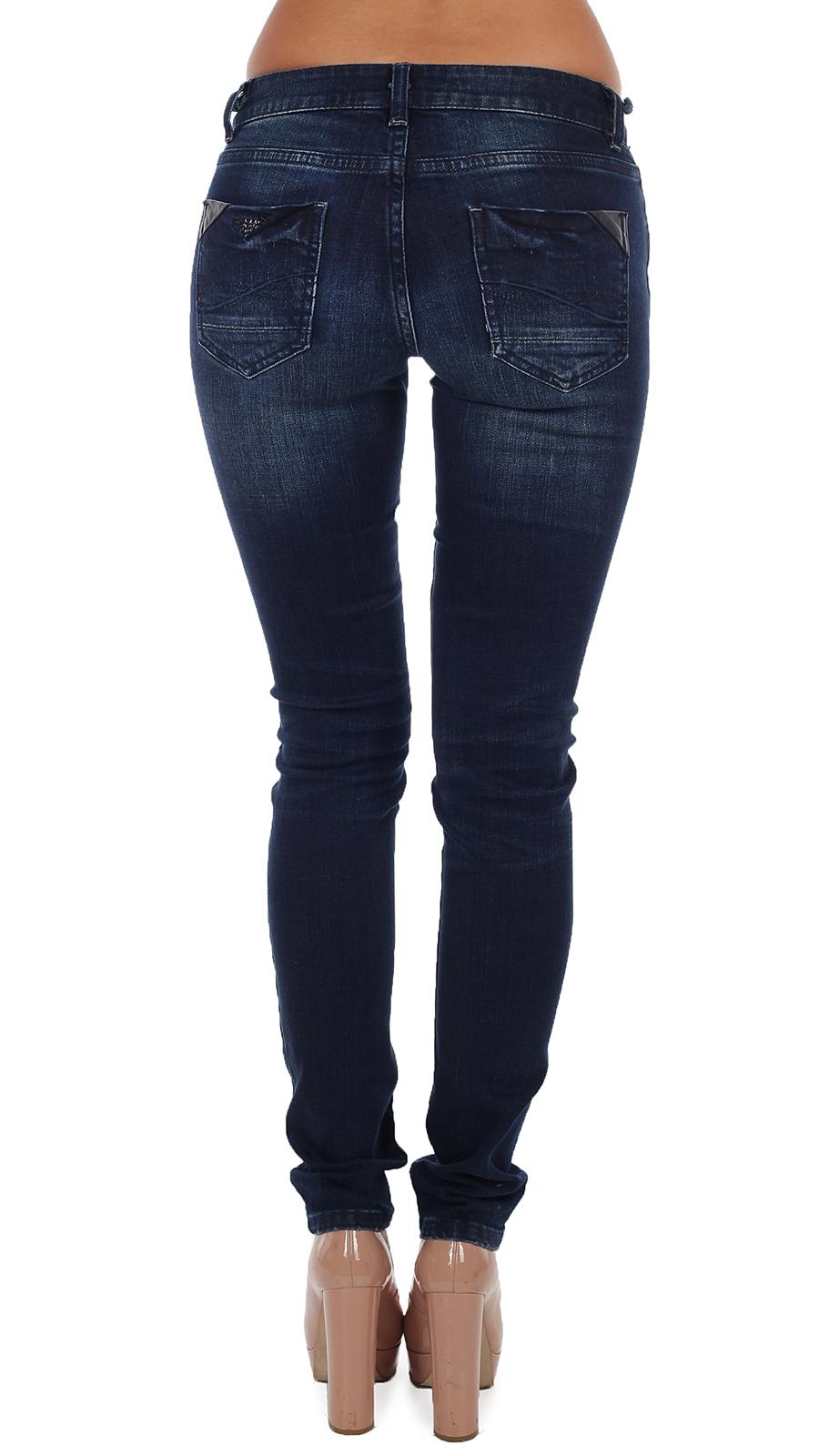 Женские джинсы L.M.V. с вышивкой и заклёпками