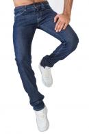 Синие мужские джинсы Armani с белыми строчками.