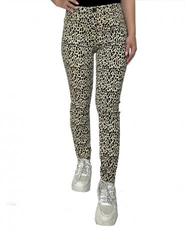 Женские джинсы-брюки Pieces с леопардовым принтом