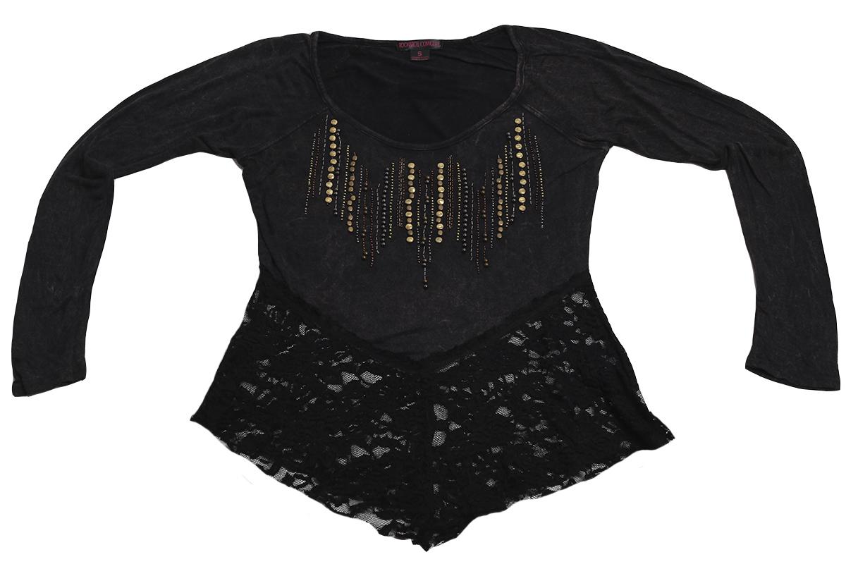 Эффектная кофточка Rock&Roll CowGirl - короткая модель черного цвета с кружевами
