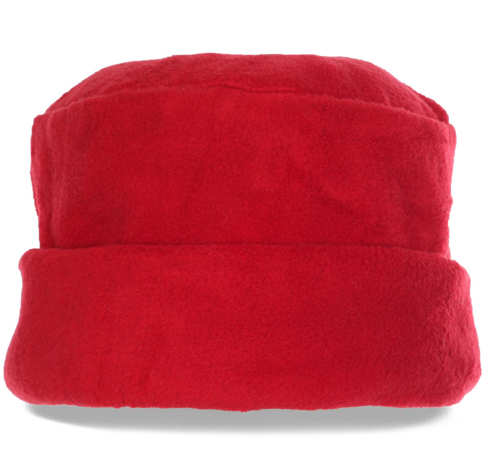 Эффектная красная женская шапка из мягкого флиса на флисовой подкладке. Купи, носи, а все подруги тебе обзавидуются!
