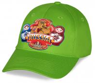 Эффектную хлопковую кепку RUSSIA с эксклюзивным ярким принтом Русского медведя с балалайкой и Матрешками оценят и патриоты и друзья и родственники. Успейте приобрести!