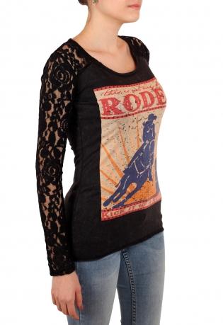 Эффектный свитшот Panhandle в стиле ГЛЭМ-РОК. Женственные рукава с рельефным кружевом и смелый молодежный принт
