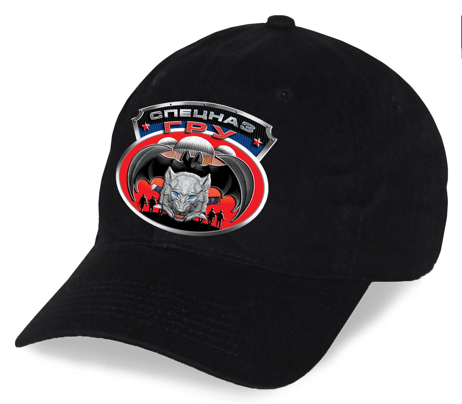 Черная бейсболка с эмблемой спецназа ГРУ