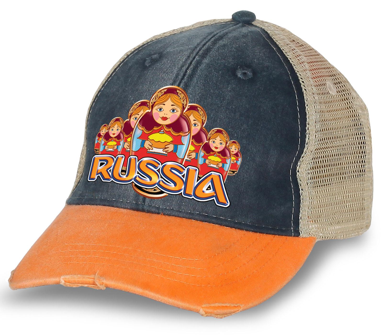 """Эксклюзивная бейсболка """"Russia"""" с матрешками. Популярная модель из 100% хлопка. Отменная модель для патриотов и болельщиков, заказывайте!"""