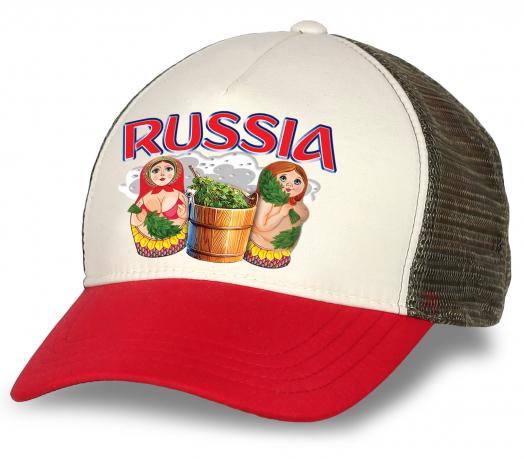 """Эксклюзивная бейсболка """"Russia"""" с матрешками в бане. Комфортная модель с сеткой. Современный дизайн, отличное качество. Достойный подарок по любому поводу!"""