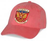 """Эксклюзивная бейсболка """"Russia"""" в коралловом цвете. Эффектная модель для патриоток и болельщиц!"""