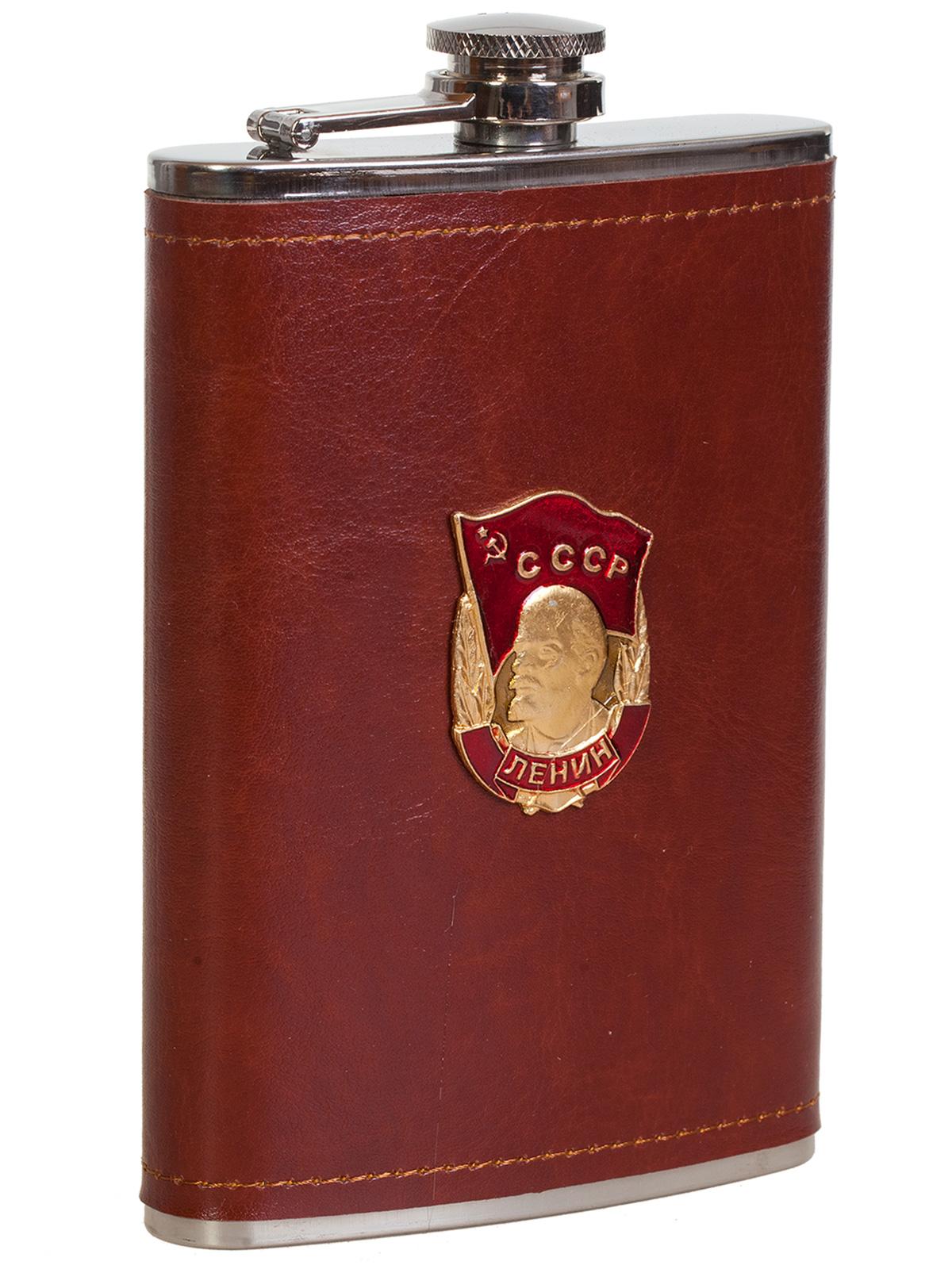 Купить эксклюзивную карманную фляжку с металлической накладкой Орден Ленина оптом или в розницу