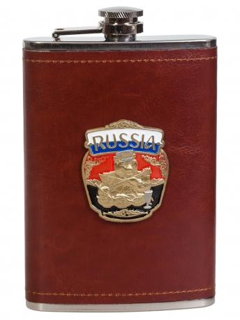 Эксклюзивная карманная фляжка с металлической накладкой Россия