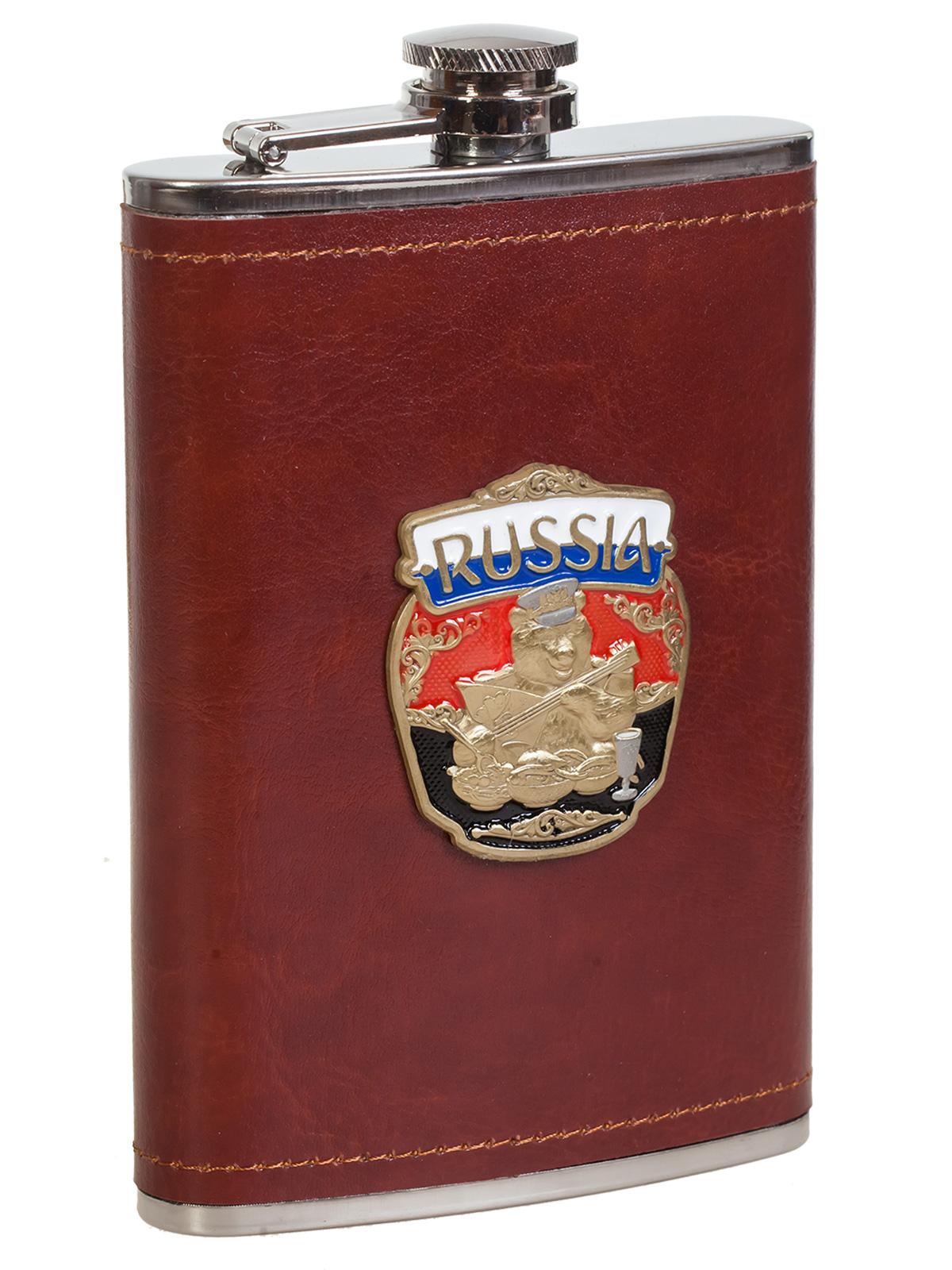 Карманная плоская фляжка в коже с накладкой «Россия»