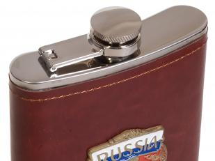 Эксклюзивная карманная фляжка с металлической накладкой Россия - купить с доставкой