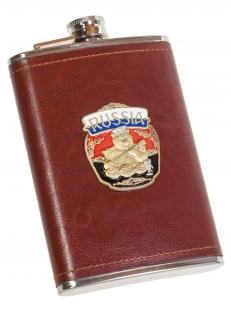 Эксклюзивная карманная фляжка с металлической накладкой Россия - купить оптом