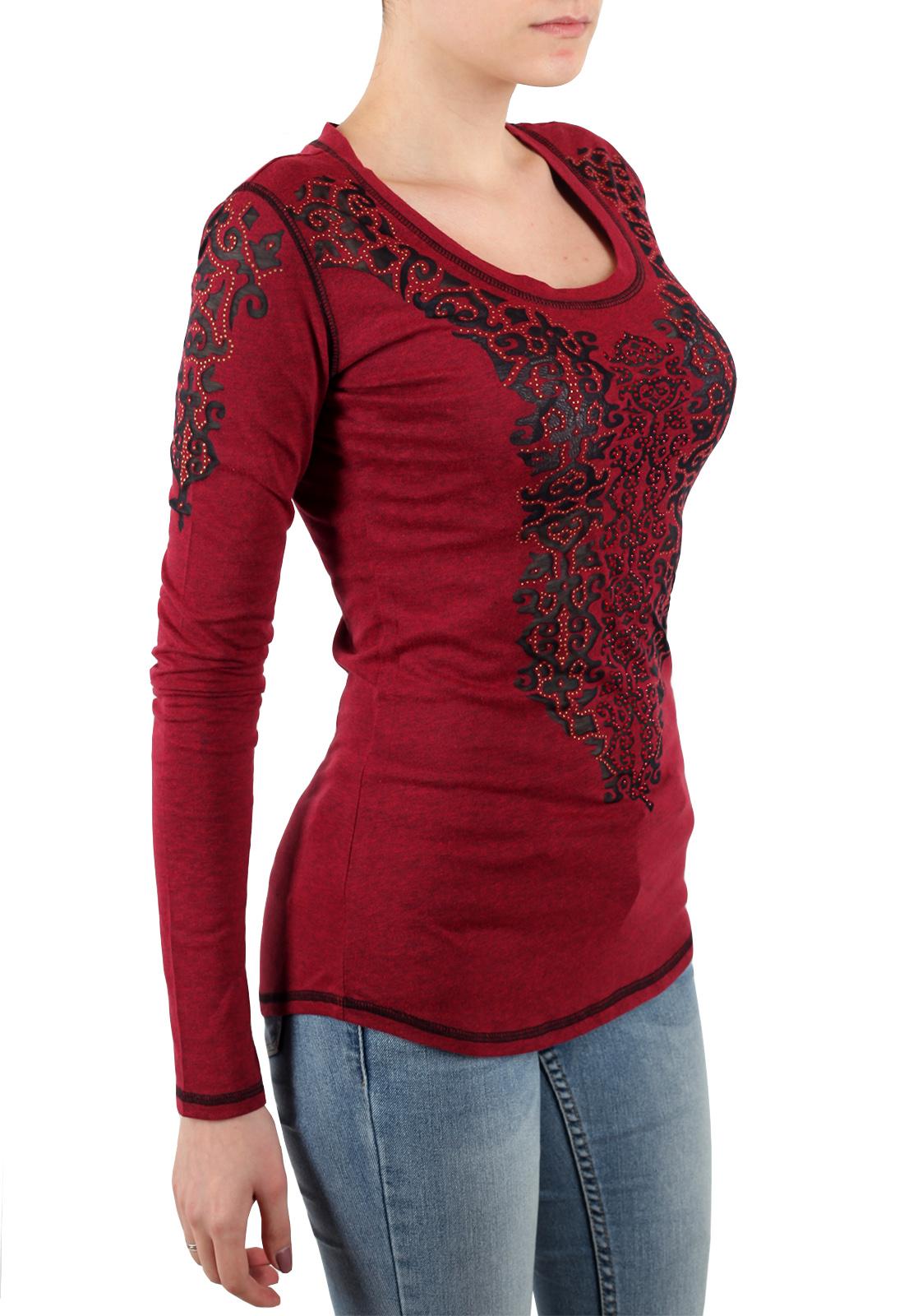 Эксклюзивная женская кофточка Panhandle с аппликацией из пайеток. Модный бордовый цвет и фасон для любого типа фигуры