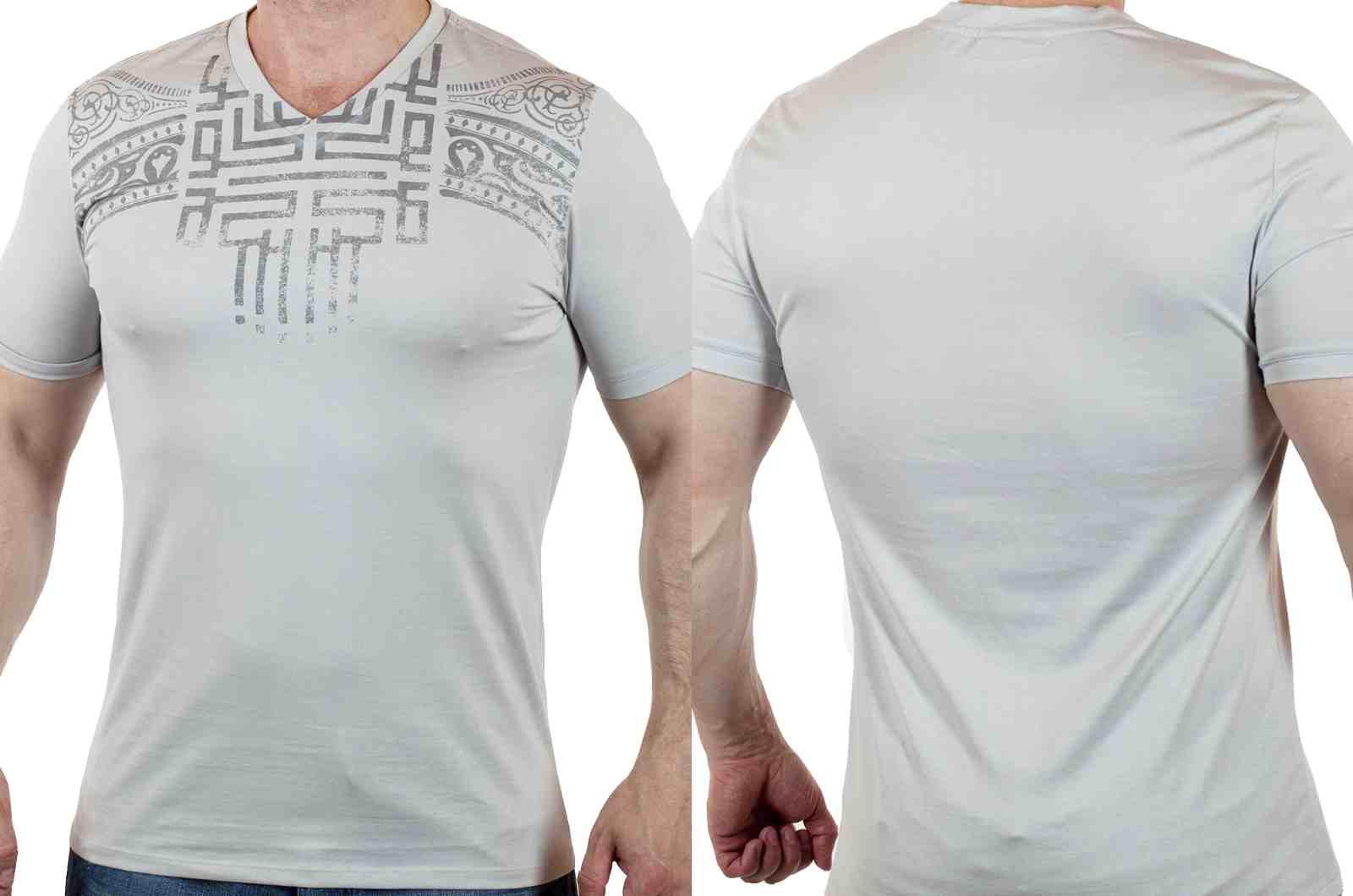 Эксклюзивная мужская футболка из Италии от Murano-двойной ракурс