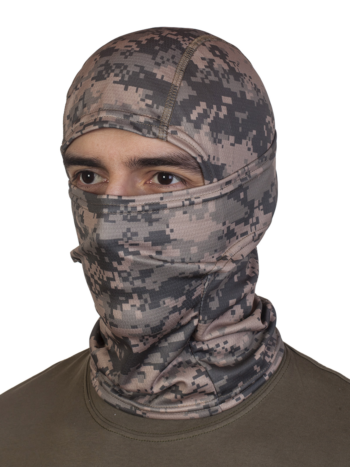 Эластичная маска подшлемник в пиксельном камуфляже
