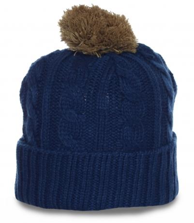 Элегантная вязанная мужская шапка с бубоном последняя модная тенденция
