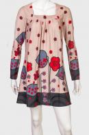 Элегантное женское платье с ярким принтом от Longbao