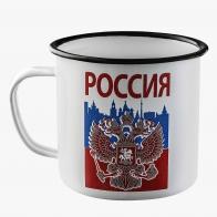 Эмалированная кружка с принтом Россия