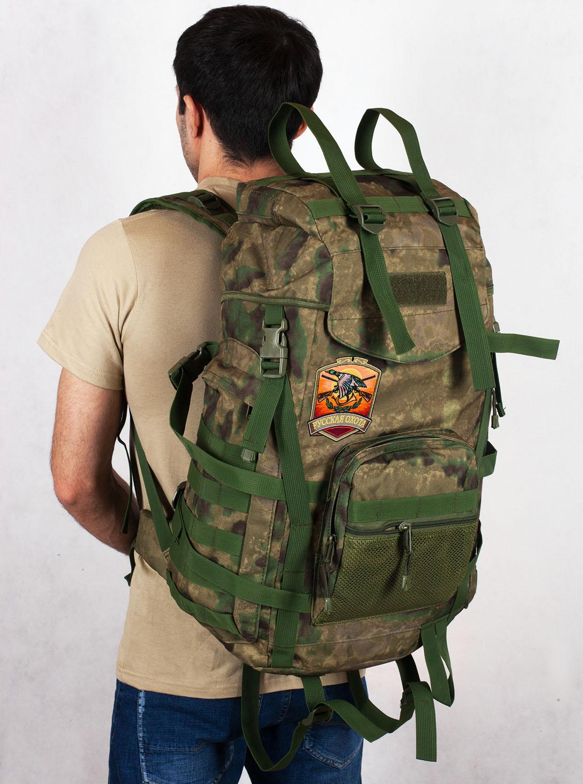 Эргономичный заплечный рюкзак с нашивкой Русская Охота - заказать в Военпро