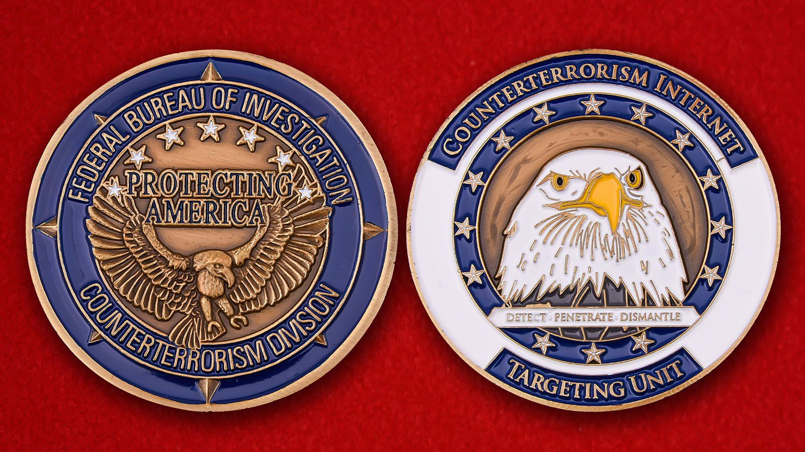 FBI Counterterrorism Division Challenge Coin = obverse and reverse