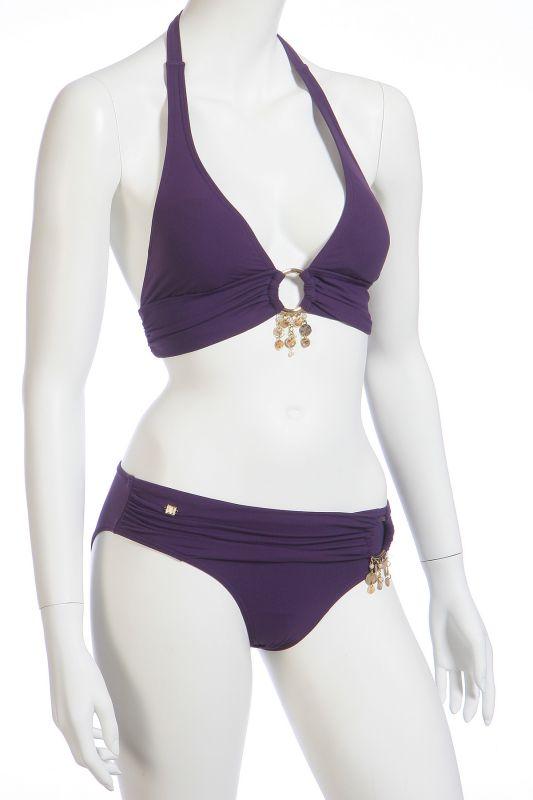Фиолетовый купальник халтер