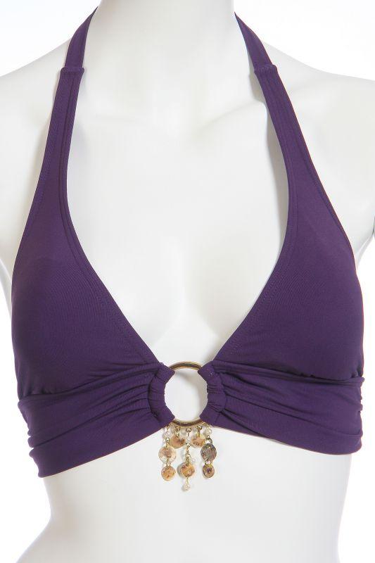 Фиолетовый купальник халтер - лиф