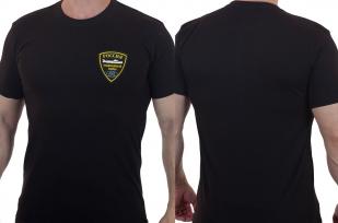 Фирменная черная футболка с вышитым шевроном Подводные силы России - заказать в Военпро